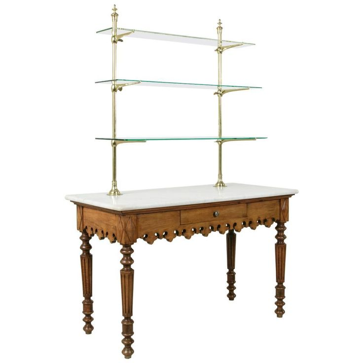 Antique MarbleTop Pastry Table with Bronze Display