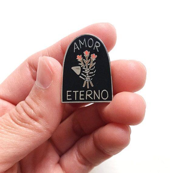"""Amor Eterno Enamel Pin, 1"""" Hard Enamel Pin in Silver Finish w/ Rubber Clutch. Eternal Love Tombstone, Skeleton Hand Brooch, Gift Idea."""
