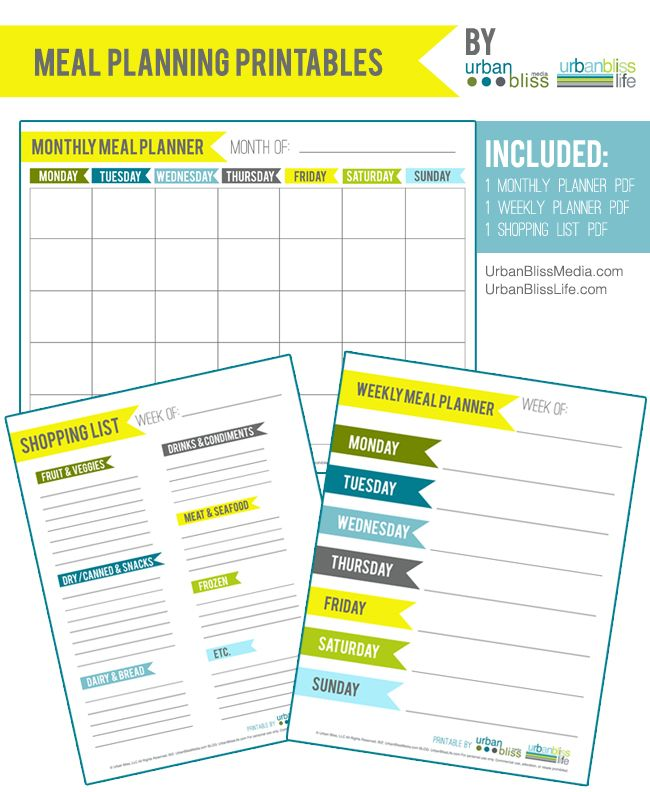 Free Meal Planning Printables Set by Urban Bliss #mealplanning #printables