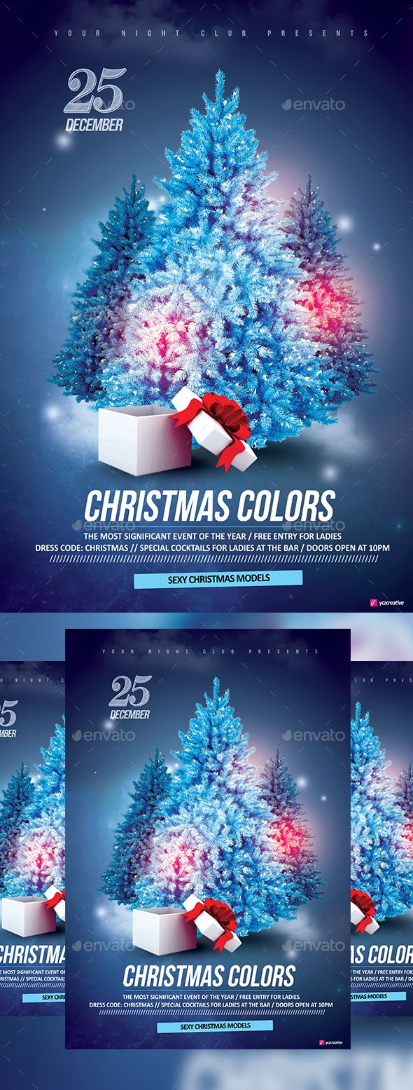 Poster design template psd - Christmas Colors