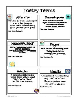 free poetry terms figurative language reference sheet high school english pinterest. Black Bedroom Furniture Sets. Home Design Ideas
