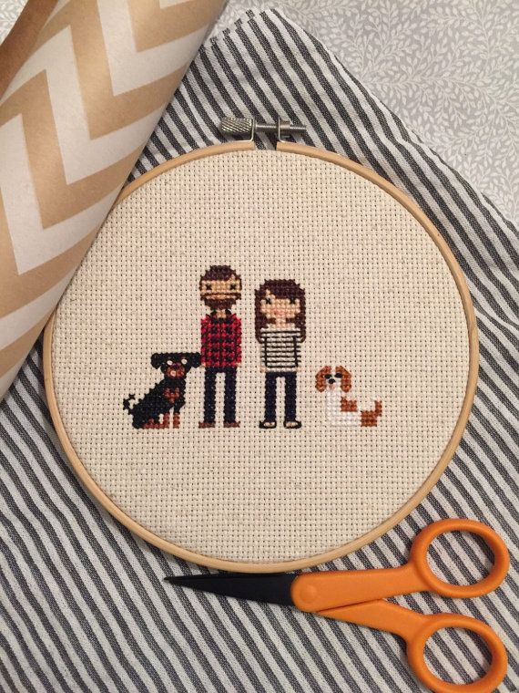 Custom Cross Stitched Family Portrait - 4 Characters - custom wedding gift, cotton anniversary gift