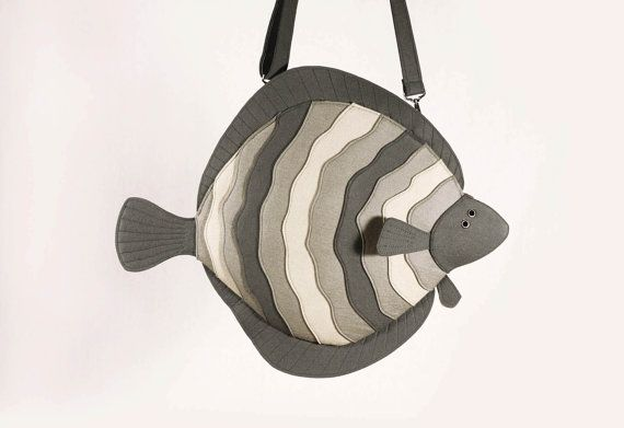 Flatfish Grey Felt Purse Flounder Laptop Purse