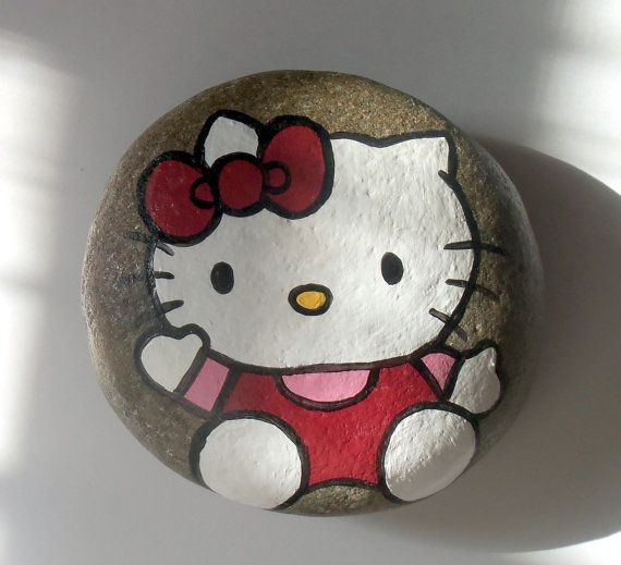 Hello Kitty Painted Art River Rock by aquietplace on Etsy, $12.99