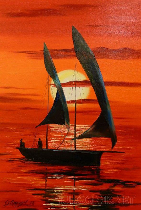 На закате На закате,картина маслом на холсте,картина маслом на подарок,картина маслом для интерьера,природа,люди,пейзаж