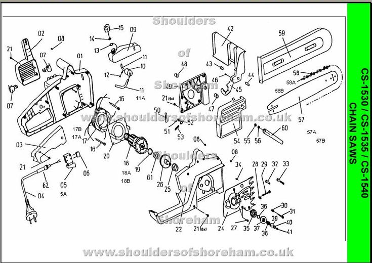 """Ryobi CS1530, CS1535, CS1540 Spare Part Diagrams"""