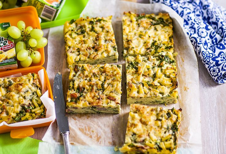 Similar to a frittata, this cheesy, freezer-friendly slice has pasta, garlic, spinach, zucchini, ham & eggs. For a beautiful lunch, serve it with a side salad.