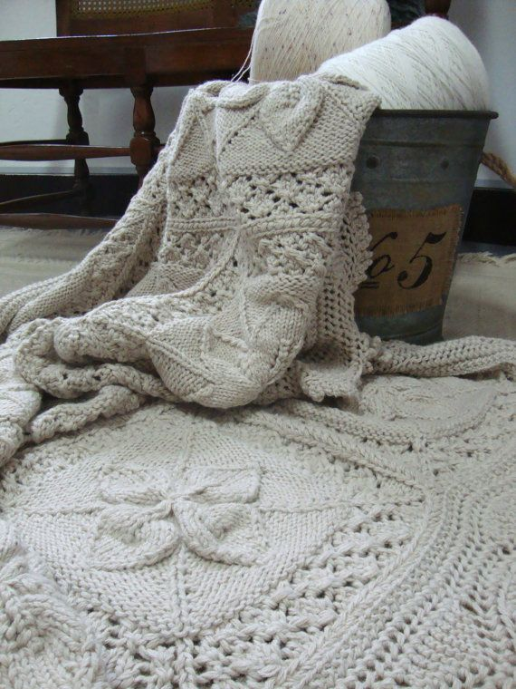 Hand Knit Peruvian Alpaca Throw by DubrasenHome on Etsy.