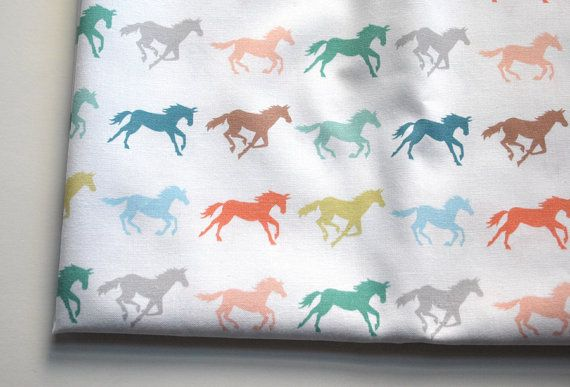 gallop  horse fabric  by Katherine Codega @Dena Whetten What about this??  I think it's super cute!  With a coral colored backing, maybe??