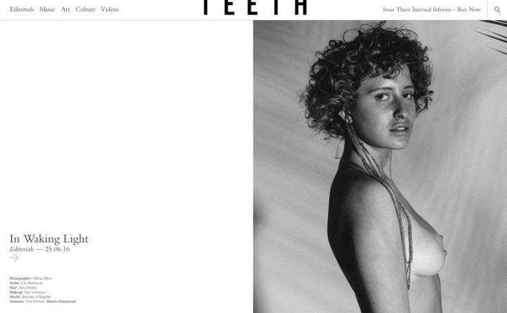 Teeth Magazine is a London-based, internationally distributed, biannual publication and online society of creatives focused on showcasing captivating and subversive outlooks on fashion, music, culture, and art with an emphasis on analog photography.
