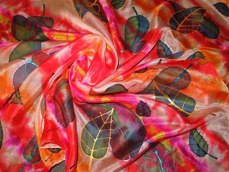 Handmade painted natural silk from Slovakia by Zana Cepkova Ponge6 75x75cm 25€  https://www.facebook.com/pages/Ma%C4%BEovan%C3%BD-hodv%C3%A1b-%C5%BDana-%C4%8Cepkov%C3%A1/194280918276