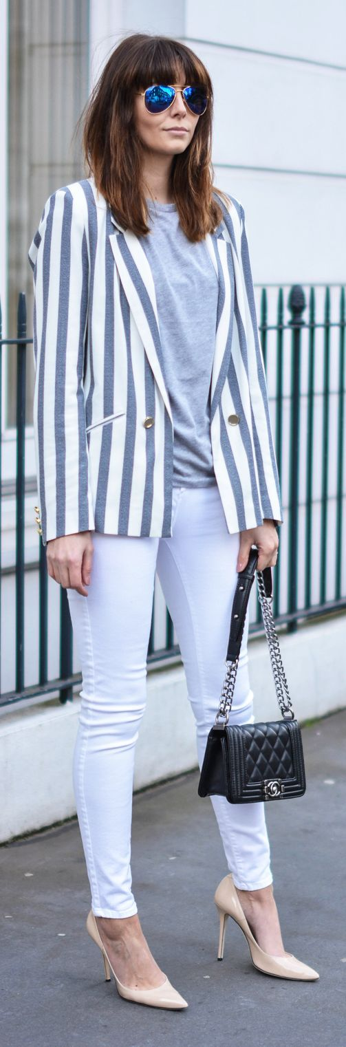 Best 25+ Striped Blazer Outfit Ideas On Pinterest | Striped Blazer Blazer Outfits And Spring Style