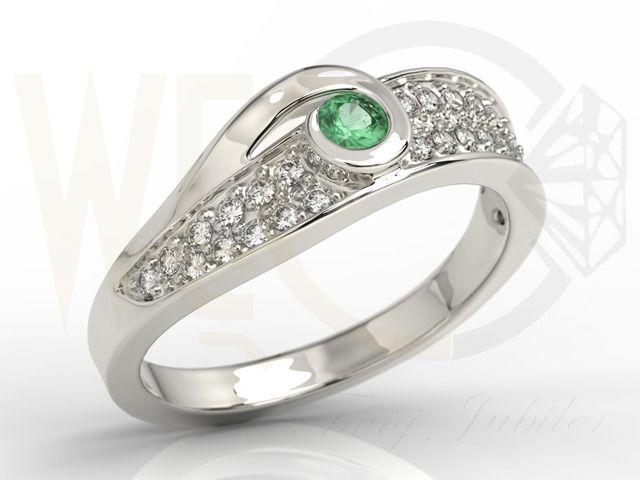 Pierścionek z brylantami i szmaragdem / Ring made from white gold with diamonds and emerald / 3275 PLN / #whitegold #emerald #diamond #jewellery #pierscionek #bialezloto #szmaragd #diamenty