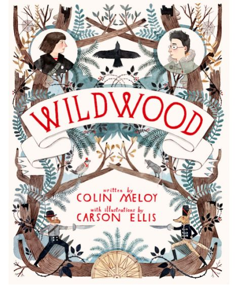 Colin Meloy (author), Carson Ellis (illustrator).   Prue and her friend Curtis give chase when a murder of crows steals Prue's baby brother and disappears into the Impassable Wilderness.  Somehow able to enter the IM, they discover a secret world called Wildwood, and encounter speaking animals and divided kingdoms, bandits and misfits, and powerful figures with evil intentions. Rescuing Prue's brother is no small adventure and in the end, both Prue and Curtis are forever changed.
