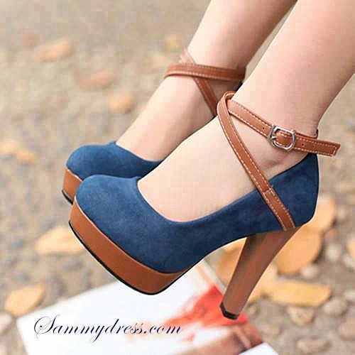 brown and blue suede criss cross heels.
