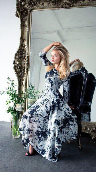 Modest black and white asymmetrical hem dress