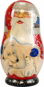 Artistic Wood Carved Russian Matreshka Santa Claus & Polar Bear Doll - traditional - Holiday Accents And Figurines - Direct Source Home