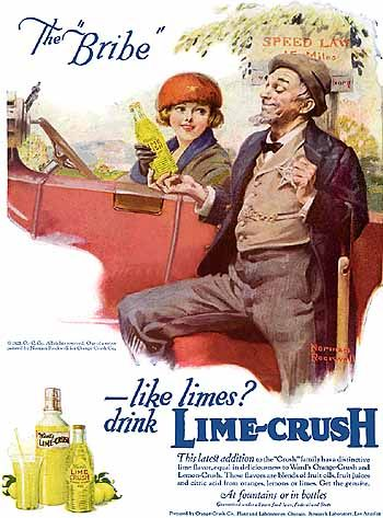 """The Bribe"" 1921  Lime-Crush advertisement by Norman Rockwell"