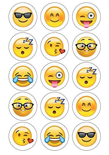 "Emoji Cupcake Toppers 15 x 2"" pre-cut per sheet (Best Quality) Sunshine Cake Toppers http://www.amazon.co.uk/dp/B01APK5HUC/ref=cm_sw_r_pi_dp_eSKOwb05D71PY"