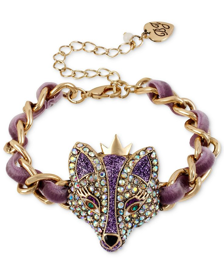 Betsey Johnson Bracelet Gold Tone Purple Fox Bracelet