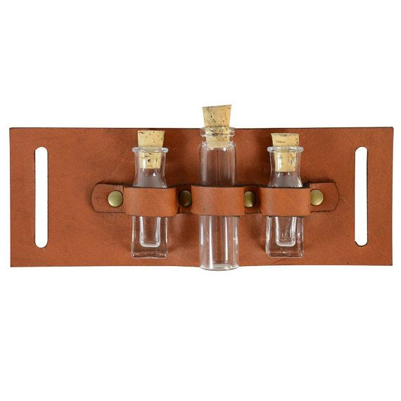 Steampunk Utility Belt AddOn Triple Vial -- could totally DIY!