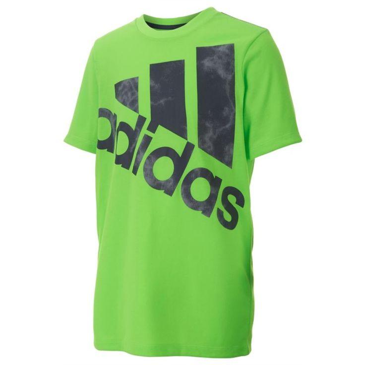 adidas Boys' Neon Smoke Screen Logo T-Shirt, Size: Medium, Green