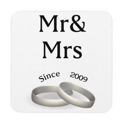 #8th anniversary matching Mr. And Mrs. Since 2009 Coaster - #WeddingCoasters #Wedding #Coasters Wedding Coasters