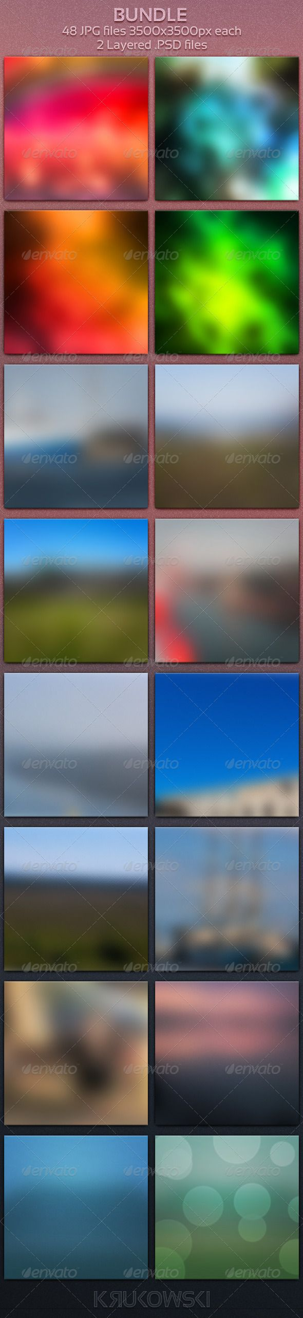 Blur Bundle 48 Blurred Backgrounds  #GraphicRiver        Blur Bundle Great for digital artists, photographers and graphic designers   2 PSD Templates:  Easy to edit layered psd file  48 JPG files 3500×3500px each  Unique design based on my own pictures!   Bundle Contains:   Blurry Backdrop  Glass Blur Background  Blurred Texture  Blurry Backdrop      Created: 20October13 GraphicsFilesIncluded: PhotoshopPSD #JPGImage HighResolution: Yes Layered: Yes MinimumAdobeCSVersion: CS5 PixelDimensions…