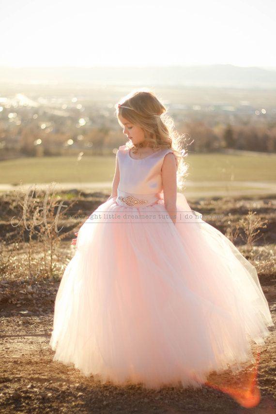 The Juliet Dress in NEW BLUSH with Rose Gold Rhinestone Sash- Flower Girl Dress