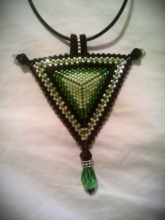 Green, black and silver Miyuki delica beads