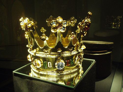 Crown of Margaret of York, an extremely rare example of English medieval metalwork is the silver gilt crown, dating from c1461. She wore this crown at her wedding to Charles the Bold in Bruges 1468, & later presented it to the altar of Our Lady in Aachen on her visit in 1475, thus sparing it from destruction in either the Reformation or English Civil War. The original leather case also survives & is displayed alongside.