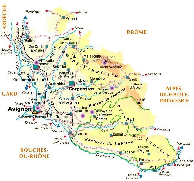 Carte du département du Vaucluse 84