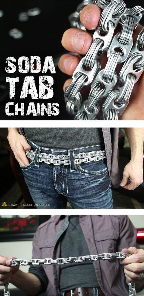Turn soda can tabs into awesome aluminum chains! What you do with them is completely up to you.