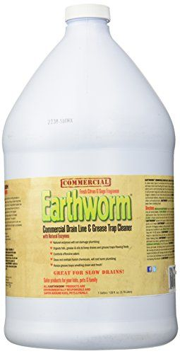 Earthworm Commercial Drain Line And Grease Trap Cleaner Treatment - Clog Remover - Drain Opener / Deodorizer - Natural Enzymes, Environmentally Responsible - 1 Gallon, 2015 Amazon Top Rated Drain Openers #Home