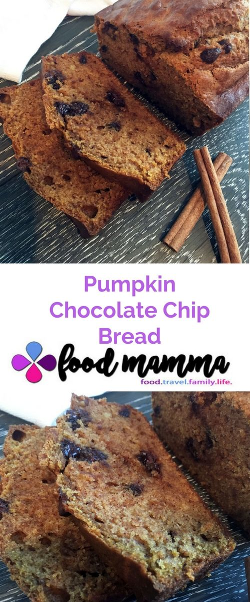 Pumpkin chocolate chip bread that is moist and filled with warmth...perfect for Fall! This recipe is super easy and perfect to get the kids in the kitchen.