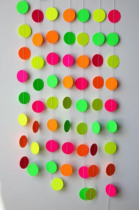 Neon decorations, Hawaiian party, Birthday party decor, Pink orange yellow green neon garland, K-C-0045, Nursery decor