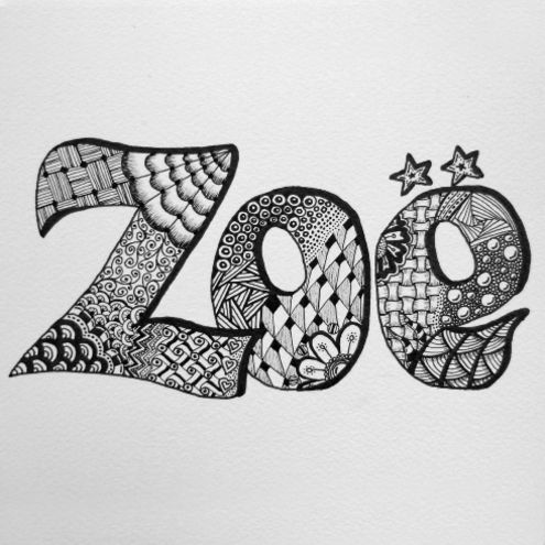 Folksy buy personalised name word zendoodle for How to doodle names