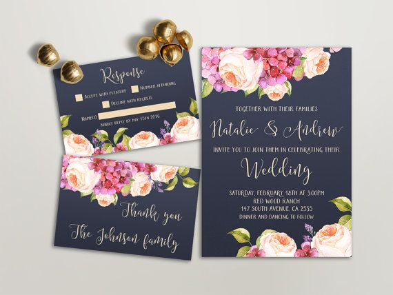 Printable Wedding Invitation Floral Wedding Invitation by lipamea