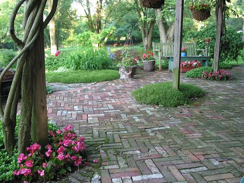 Salvaged Brick Patio and Garden