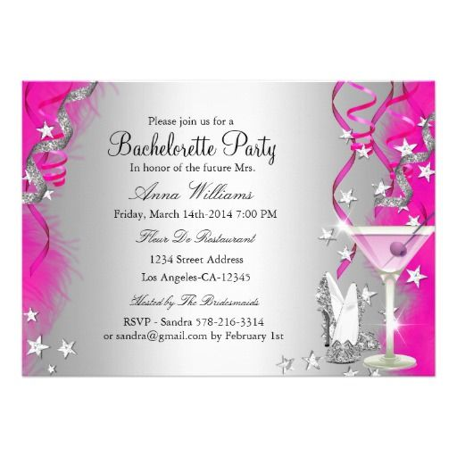 Pink Sparkle Heels & Cocktail Bachelorette Party 5x7 Paper Invitation Card