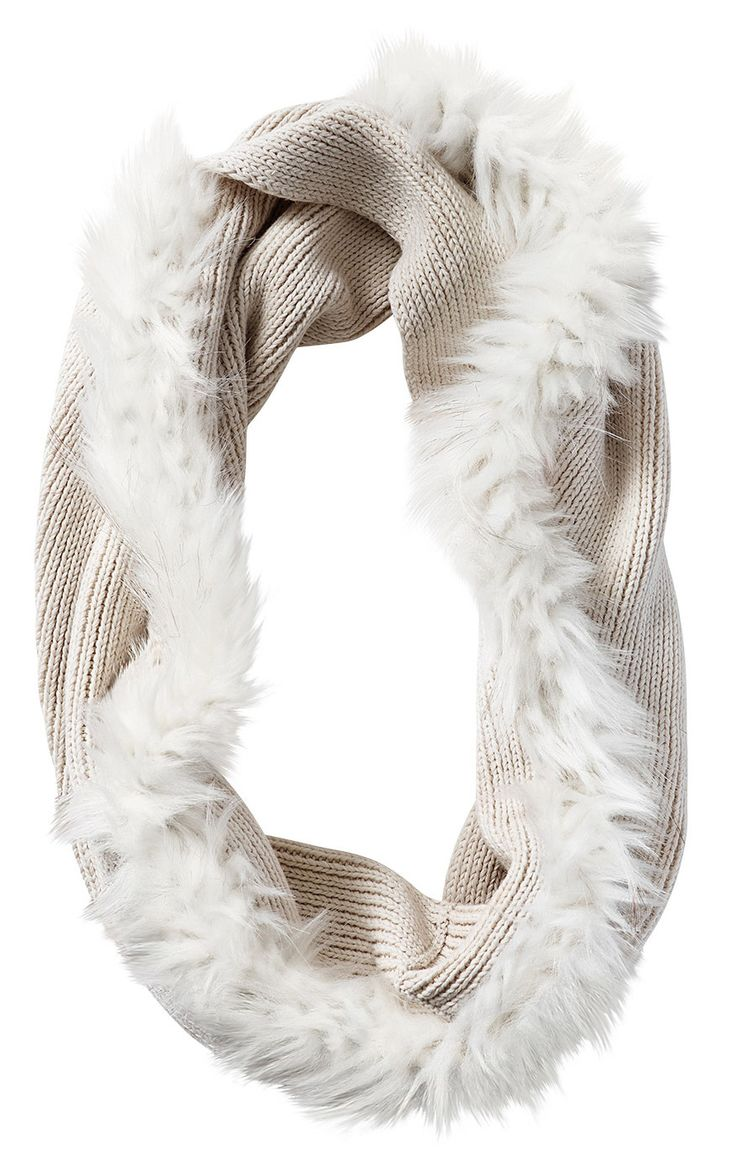 #cabi - The sumptuous softness of this faux fur on this cozy knit scarf adds understated glamour to your winter wear.