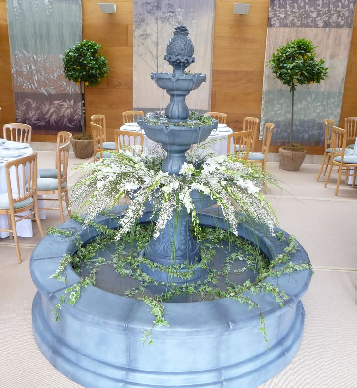 Stunning decorated fountain in the centre of a marquee!