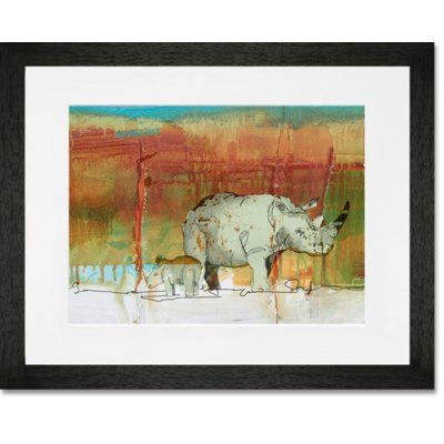 "GreenBox Art 'Rhinos on the Plain' by John Baron Framed Painting Print Size: 13"" H x 15"" W x 0.5"" D, Frame Color: Black"