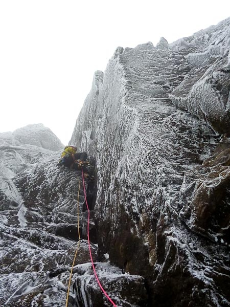 Guy Steven on the first ascent of Deliverance (VII,7) on the Stone Shoot Face of Sgurr Thearlaich on Skye. This south-east-facing cliff has a number of superb winter climbs that come into condition quickly due to their altitude of 800m. (Photo Mike Lates)