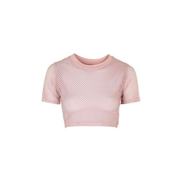 TopShop Airtex Crop Tee found on Polyvore featuring tops, t-shirts, pale pink, sports crop top, sport t shirt, crop t shirt, cropped tops and polyester t shirts