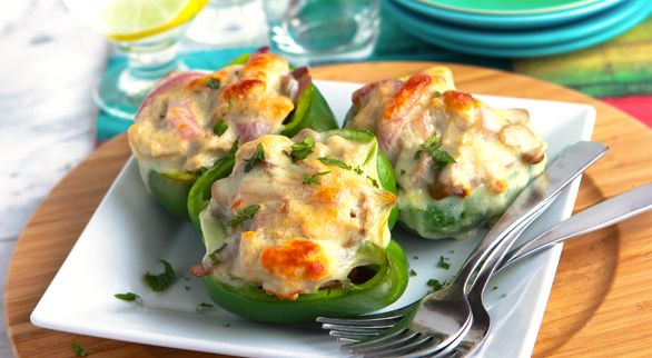 Philly Turkey Stuffed Green Peppers- I've made this recipe several times and LOVE it, it's so easy and simple!