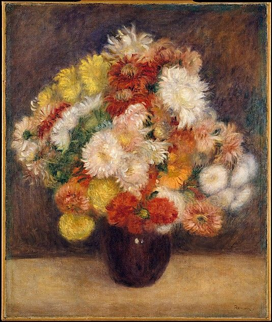 "Auguste Renoir (French, 1841–1919). Bouquet of Chrysanthemums, 1881. The Metropolitan Museum of Art, New York. The Walter H. and Leonore Annenberg Collection, Bequest of Walter H. Annenberg, 2002 (2003.20.10) | Renoir felt that he had greater freedom to experiment in still lifes than in figure paintings. ""When I paint flowers, I feel free to try out tones and values and worry less about destroying the canvas"". #spring:"