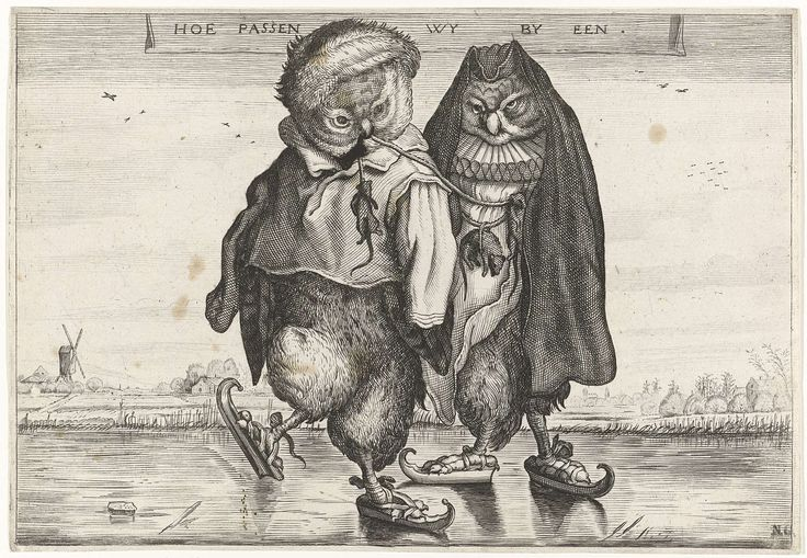 Schaatsende uilen, Adriaen Pietersz. van de Venne, 1620 - 1660