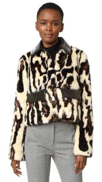 Carven Faux Leopard Coat