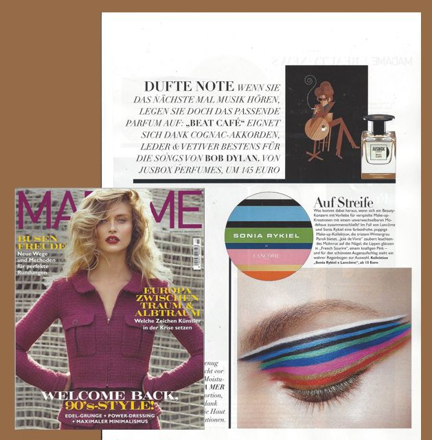 Beat Cafè by Jusbox Perfumes as seen in Madame Germany - October 2016